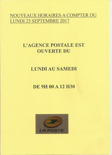 horaires de l'agence postale